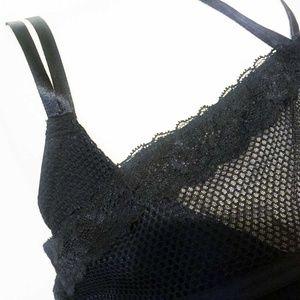 Cacique Intimates & Sleepwear - Cacique French Balconette Black Fishnet Halter Tie